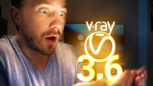 Kevin holding the glowing V-Ray 3.6 Logo in his hands.