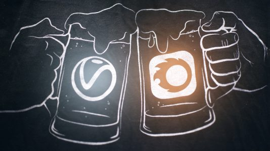 Drawing of 2 beers cheering, one with a V-Ray logo and one with a Corona logo.